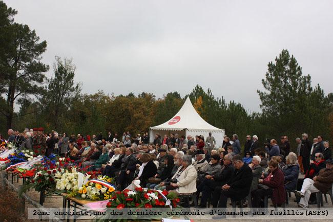 2ème enceinte, une des dernière cérémonie d'hommage aus fusillés