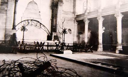 Intérieur de la synagogue de Bordeaux sous l'occupation